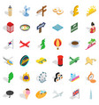 vacation icons set isometric style vector image