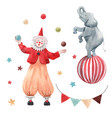 watercolor circus clown set vector image