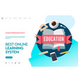 web page design template for e-learning online vector image vector image