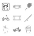 weight icons set outline style vector image vector image