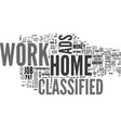 work at home classified text word cloud concept vector image vector image