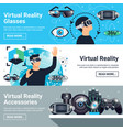 virtual reality banner set vector image
