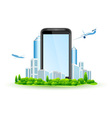 Icon Touch Screen Smart Phone with City vector image