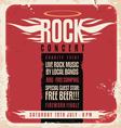 Rock concert retro poster design vector image