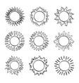 sketch sun hand drawn sunshine symbols cute vector image