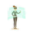 businesswoman wearing vr headset working in vector image