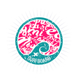 Surf wave emblem in retro style vector image