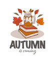 autumn latte hot drink books and fall leaves in vector image vector image