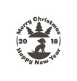 badge a dog in a christmas ball and on it vector image vector image