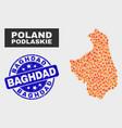 burn mosaic podlaskie voivodeship map and grunge vector image vector image