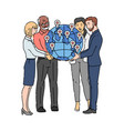 business people holding globe together - global vector image