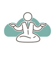 character in suit and tie sits in lotus pose vector image