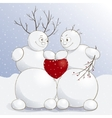 cute amorous snowmen with vector image vector image