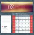 Desk Calendar for 2016 Year September Stationery vector image vector image