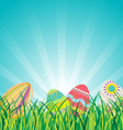 Easter Eggs on Glasses with Blue Sky Background vector image vector image
