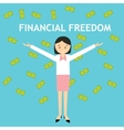 financial freedom woman standing money rain vector image vector image