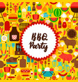 flat bbq party postcard vector image vector image