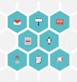 flat icons social media ads letter message and vector image vector image