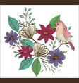 floral decoration and bird vintage style vector image