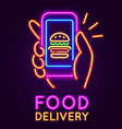food delivery neon sign glowing banner with hand vector image