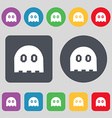 Ghost icon sign A set of 12 colored buttons Flat vector image