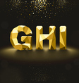 Golden Lowpoly Font from G to I vector image vector image