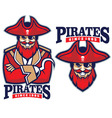 half body pirate mascot vector image vector image