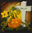 halloween scary pumpkins on the cemetery at night vector image vector image