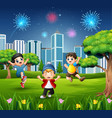 happy children playing and jumping in the city par vector image vector image