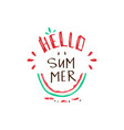 hello summer tropical slogan with watermelon vector image vector image