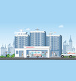 hospital building with ambulance car and medical vector image vector image