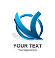 initial letter v logo template colored blue vector image vector image