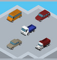 isometric car set of auto freight lorry and vector image vector image