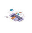 isometric mobile phone line style vector image