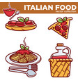 italian cuisine traditional food dishes food pizza vector image vector image