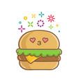 kawaii hamburger sandwich icon cartoon vector image vector image