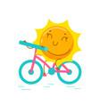 kawaii sun personage riding bicycle isolated vector image