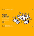 landing page with work and relax concept vector image
