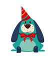 little dog with a party hat on vector image vector image