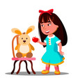 little girl shares one apple with her soft toy vector image
