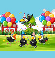 many collared aracari bird in party scene vector image