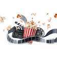 movie cinema poster flying popcorn tape vector image vector image