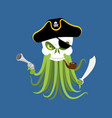 octopus and skull poulpe and head of skeleton vector image vector image