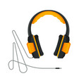 orange and black headphones with cable accessory vector image vector image