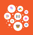 set of infant icons flat style symbols with beads vector image vector image