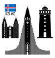 set with iceland landmarks in flat style vector image vector image