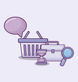 shopping basket with set icons economy vector image vector image