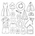 sketch monochrome summer vacation elements set vector image vector image