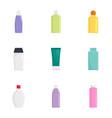 skin care bottle icon set flat style vector image