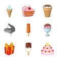 sweet gift icons set cartoon style vector image